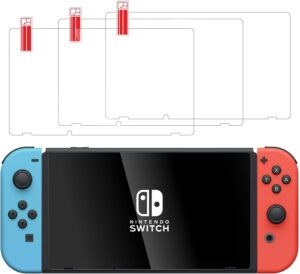 talkworks tempered glass for nintendo switch screen protector (3 pack)