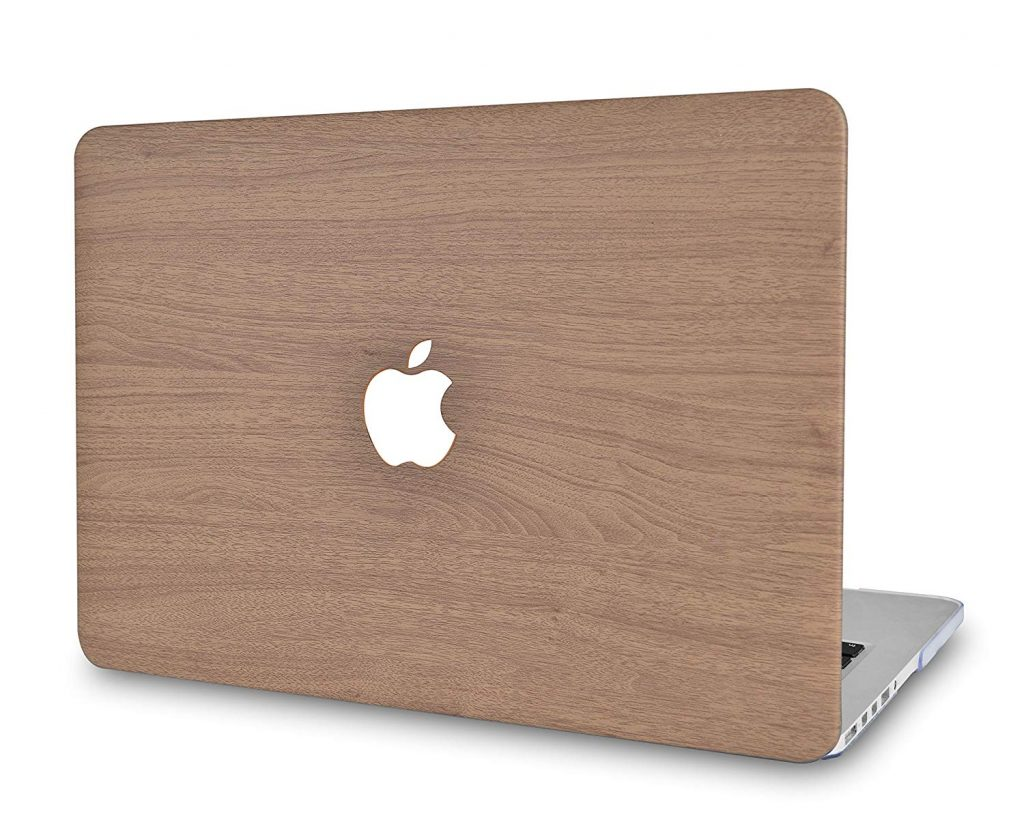 LuvCase Brown Wood Hard Shell Leather Case for New MacBook Air 13