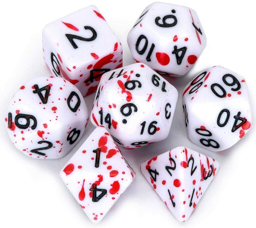 flashowl polyhedral d&d dice with blood splatter design