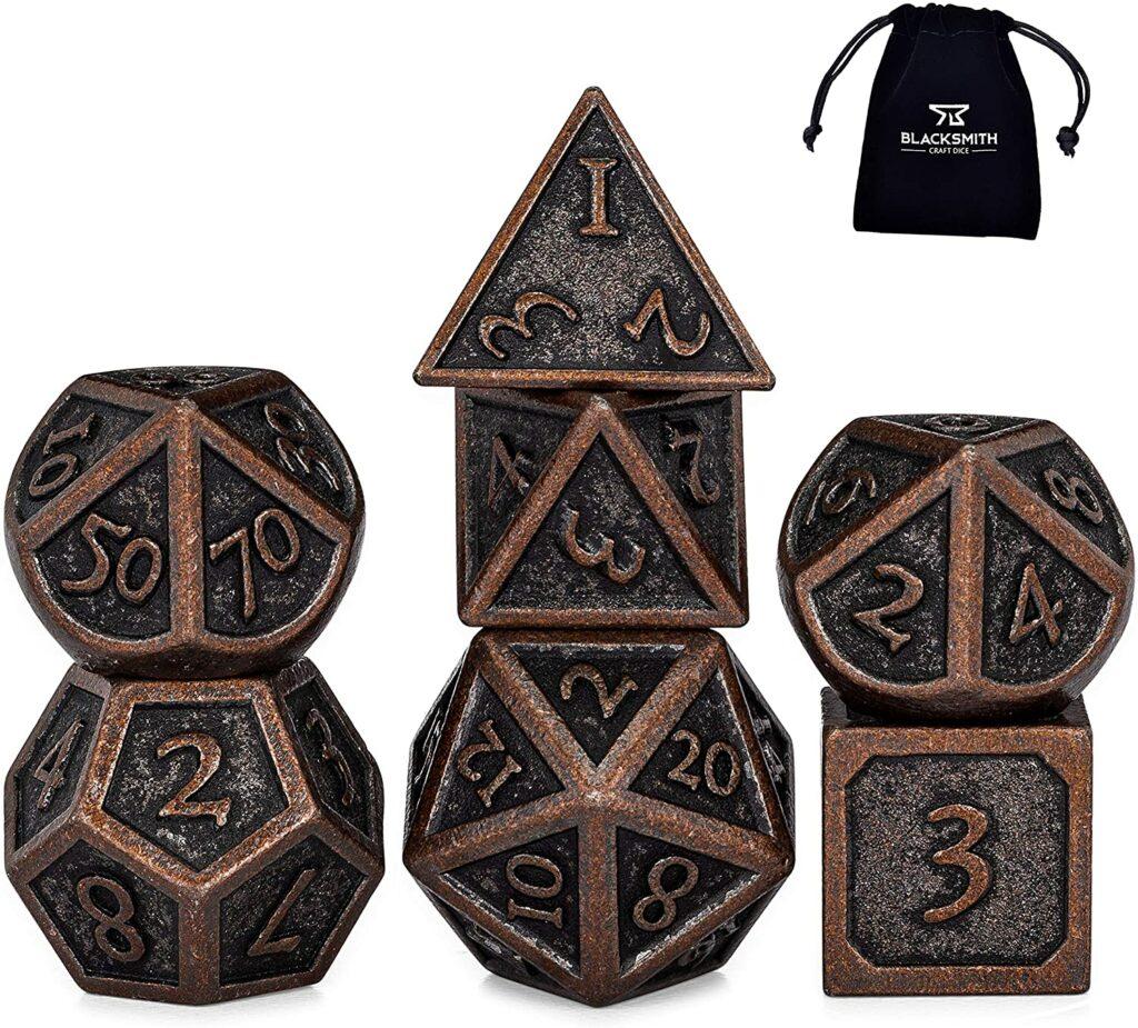heimdallr set of 7 weathered bronze gaming dice