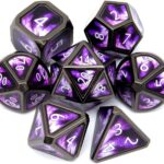 haxtec purple scene metal dice with rounded corners