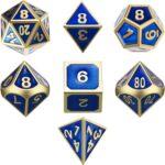 tecunite 7 die metal polyhedral d&d gaming dice