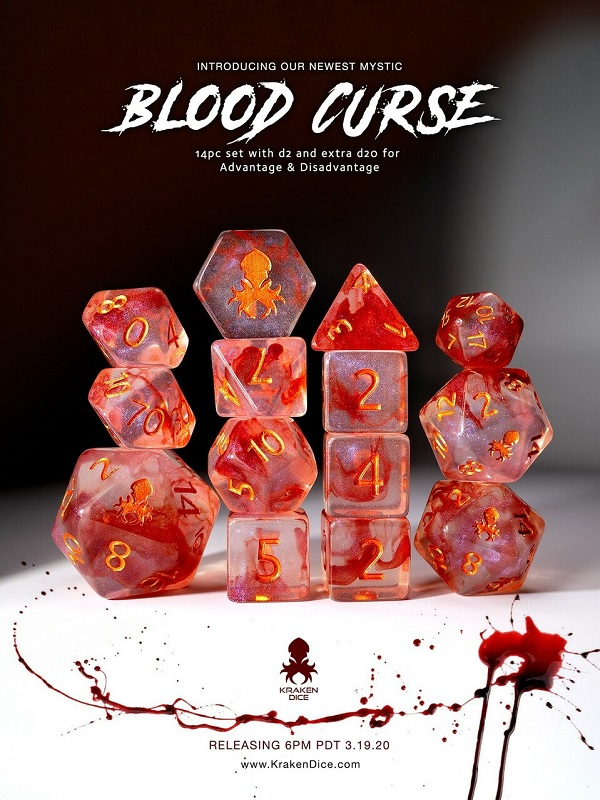 blood curse 12pc polyhedral dice set with copper ink