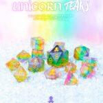 unicorn tears 12pc layered glitter dice set with kraken logo